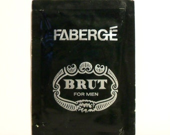 Vintage 1970s Brut by Faberge Eau de Toilette Sample Towelette Packet COLOGNE
