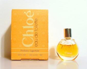 Vintage 1980s Chloe by Karl Lagerfeld 0.125 oz Eau de Toilette Mini Miniature and Box #1 PERFUME