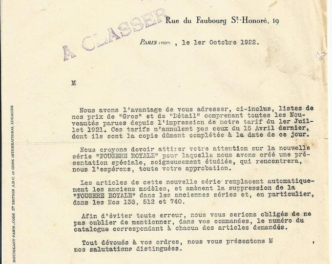 Antique 1922 Houbigant Fernand Javal Signature Parfums Perfume Merchandise Letter Ancien Lettre Parfumerie Ephemera