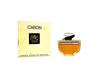 Vintage 1950s Perfume Fleurs de Rocaille by Caron 0.5 oz (15ml) Pure Parfum Splash and Box Original Formula