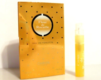 Vintage 1990s Fleur de Rocaille by Caron 0.04 oz Eau de Toilette Sample Vial on Card PERFUME