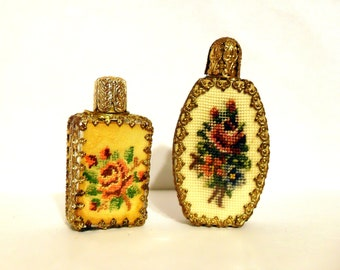 Pair Vintage 1950s Austrian Petitpoint Embroidered Brass Filigree Scent Miniature Perfume Bottles