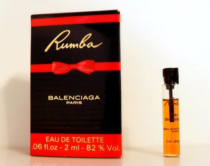 Vintage 1980s Rumba by Balenciaga 0.06 oz Eau de Toilette Sample on Card PERFUME