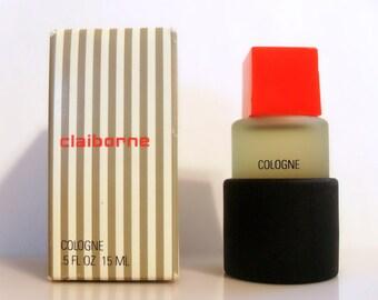 Vintage 1980s Claiborne for Men  by Liz Claiborne 0.15 oz Cologne Miniature Mini and Box