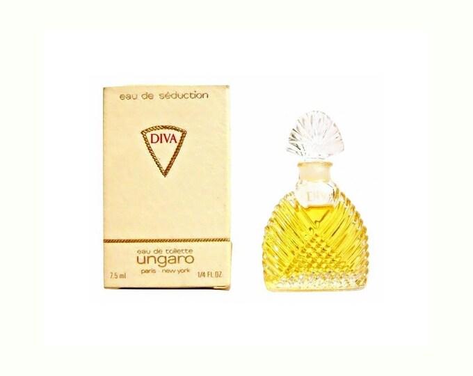 Vintage 1980s Diva by Ungaro Eau de Seduction 0.25 oz Eau de Toilette Miniature Mini Bottle with Box PERFUME