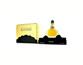 Vintage 1990s Black Pearls by Elizabeth Taylor 0.25 oz (7.5ml) Pure Parfum Splash and Box PERFUME
