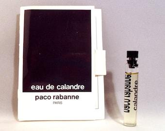 Vintage 1980s Eau de Calandre by Paco Rabanne 0.06 oz Eau de Toilette Splash Sample Vial on Card PERFUME