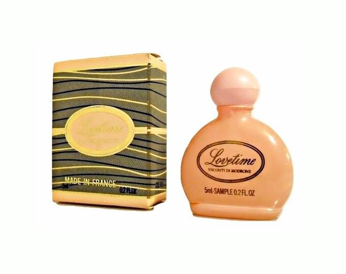 Vintage 1980s Lovetime by Visconti di Modrone 0.2 oz Mini Perfume Miniature Parfum in Box DISCONTINUED