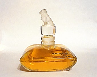 Antique Vintage 1920s Toujours Fidele by D'Orsay Figural Bulldog Frosted Glass Stopper Baccarat Perfume Factice