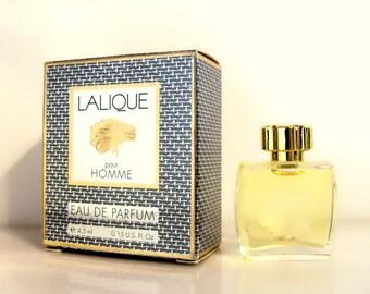 Vintage 1990s Lalique Pour Homme 0.15 Eau de Parfum Splash Mini Miniature Cologne and Box