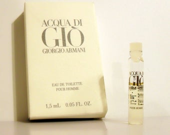Vintage 1990s Acqua di Gio by Giorgio Armani 0.05 oz Eau de Toilette Sample in Box MEN'S COLOGNE