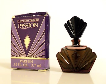 Vintage 1990s Passion by Elizabeth Taylor 0.12 oz Pure Parfum Splash Mini Perfume Bottle and Box PERFUME #2
