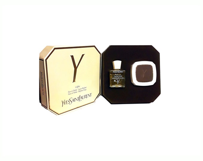 Vintage Y by Yves Saint Laurent 1.7 oz Eau de Toilette & 100g Soap Gift Set in Box Original 1970s Formula PERFUME