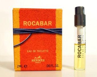 Vintage 1990s Rocabar 0.06 oz Eau de Toilette Spray Perfume Sample Vial in Box Men's Cologne
