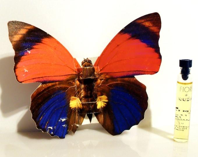 Vintage 1990s Fiori di Krizia 0.12 oz Eau de Toilette Sample on Red and Blue Butterfly Card PERFUME