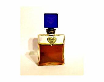 Vintage Perfume Antique 1940s Alambic by Jacques Heim 0.5 oz (15ml) Pure Parfum Bottle Blue Glass Fox Intaglio Stopper