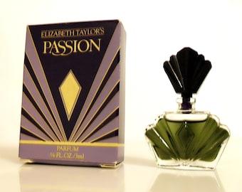 Vintage 1990s Passion by Elizabeth Taylor 0.12 oz Pure Parfum Splash Mini Miniature PERFUME #1