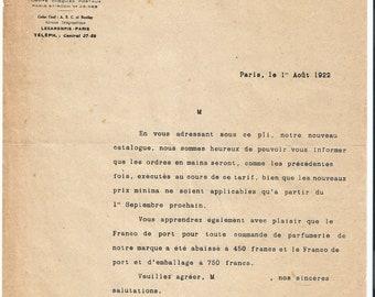 Antique 1922 Gelle Freres Lecaron Fils Signature Parfums Perfume Merchandise Letter Ancien Lettre Parfumerie Ephemera #6