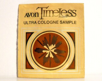Vintage 1970s Timeless by Avon Ultra Cologne Towelette Sample Packet PERFUME
