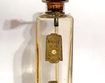 Vintage 1920s White Rose by Mellier Large American Glass Bulk Druggist Demonstration Tester Perfume Bottle Art Deco