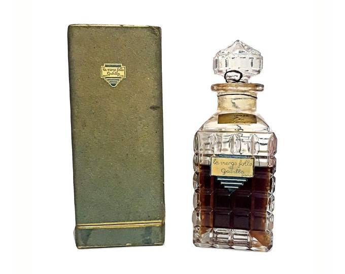 Antique La Vierge Folle Perfume by Gabilla 6 oz Parfum Vintage 1930s Art Deco Decanter Bottle
