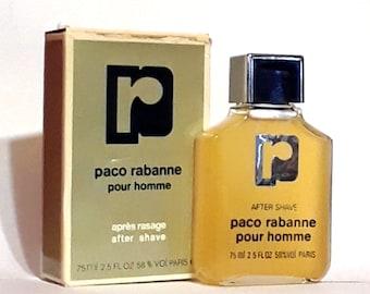 Vintage 1980s Paco Rabanne Pour Homme 2.5 oz After Shave Splash Cologne