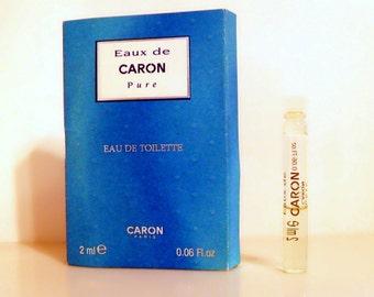 Vintage 1990s Eau de Caron Pure by Caron 0.05 oz Eau de Toilette Sample Vial on Card PERFUME