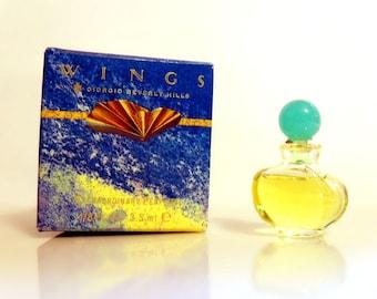 Vintage 1980s Wings Giorgio Beverly Hills 0.13 oz Parfum Splash Miniature Perfume and Box