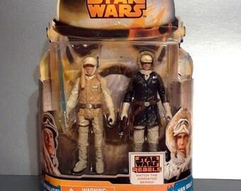 """Star Wars Luke Skywalker & Han Solo Rebels Mission Series 3.75"""" Action Figures on Card"""
