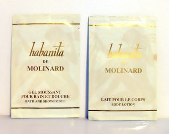 Vintage 1980s Habanita by Molinard Perfumed Body Lotion and Shower Gel Sample Packets