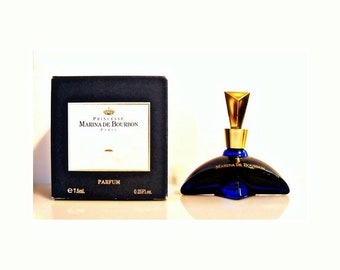 Vintage 1990s Marina de Bourbon by Princesse Marina de Bourbon 0.25 oz Parfum  Miniature Mini Bottle and Box PERFUME
