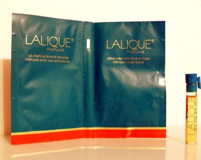 Vintage 1990s Lalique de Lalique Perfume, Body Cream and Shower Gel Samples