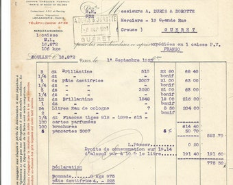 Antique 1923 Gelle Freres Lecaron Fils Signature Parfums Perfume  Merchandise Invoice Ancien Facture Parfumerie Ephemera #2.