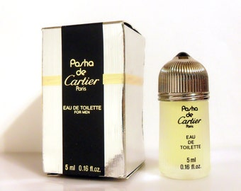 Vintage 1990s Pasha de Cartier 0.16 Eau de Toilette Mini Miniature Cologne and Box