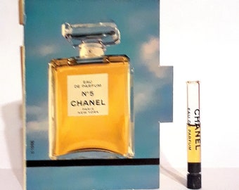 Vintage 1980s Chanel No 5 by Chanel Eau de Parfum Splash Sample Vial on Card PERFUME