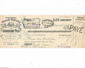 Antique 1925 Gelle Freres Parfums Perfume Merchandise Receipt Ancien Acquit Parfumerie Ephemera #7