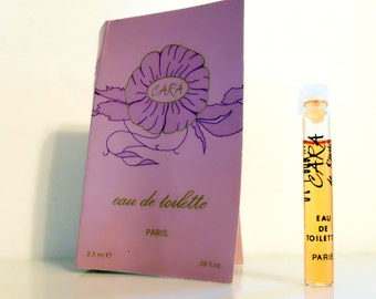 Vintage 1990s Cara by Riachi 0.08 oz Eau de Toilette Sample Vial on Card PERFUME