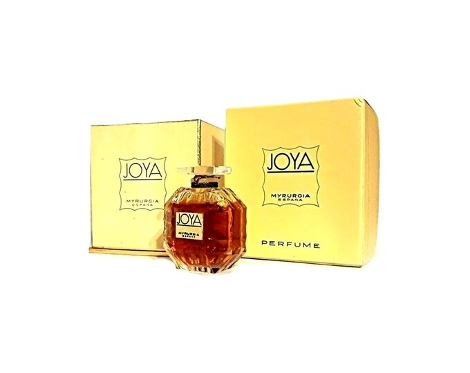 Vintage 1950s Joya by Myrurgia 0.25 oz Pure Parfum Extrait Sealed Crystal Perfume Bottle & Presentation Box