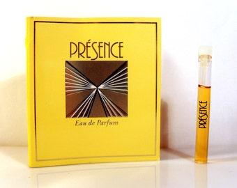 Vintage 1980s Presence by Parfums Parquet Eau de Parfum Sample Vial on Card PERFUME