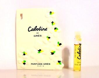 Vintage 1990s Cabotine de Gres 0.054 oz Eau de Toilette Splash Sample Vial on Card PERFUME