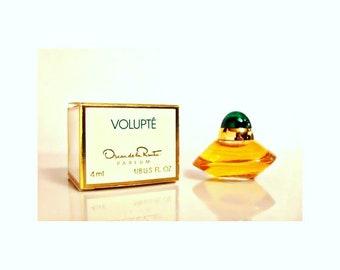 Vintage 1990s Volupte by Oscar de la Renta 0.125 oz Parfum Mini Miniature and Box PERFUME