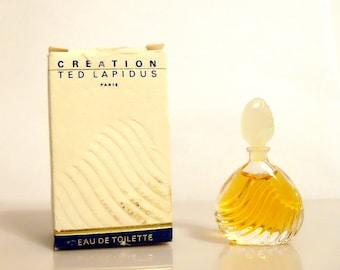 Vintage 1980s Creation by Ted Lapidus 0.13 oz Eau de Toilette Mini Miniature Perfume and Box