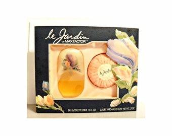 Vintage 1980s Le Jardin by Max Factor 0.55 oz Eau de Toilette Spray and Soap Perfume Gift Set