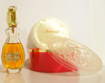 Vintage 1970s Intimate by Revlon 8 oz Concentrated Cologne Spray and Dusting Powder Gift Set in Box PERFUME