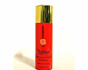 Vintage 1970s Replique by Raphael 3.4 oz Spray Bath Powder DISCONTINUED PERFUME