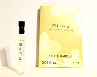 Vintage 1990s Pure by Alfred Sung 0.03 oz Eau de Toilette Sample Vial on Card PERFUME