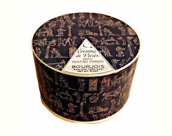 Vintage 1940s Evening in Paris by Bourjois 6 oz Perfumed Dusting Powder After Bath Powder