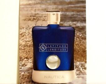 Vintage Latitude Longitude by Nautica 0.01 oz Eau de Toilette Sample on Card COLOGNE