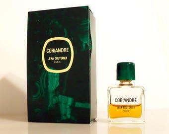 Vintage 1980s Coriandre by Jean Couturier 0.3 oz Eau de Toilette Mini Miniature and Box Perfume