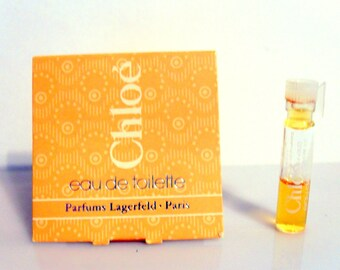 Vintage 1980s Chloe by Parfums Lagerfeld 0.027 oz Eau de Toilette Splash Sample Vial PERFUME